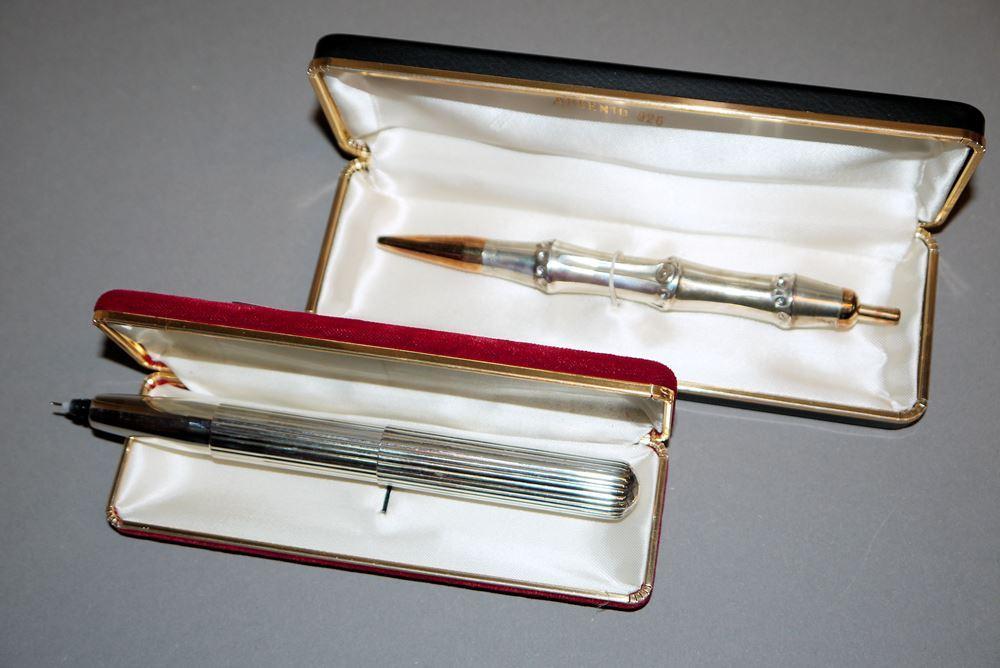 "Silber-Kugelschreiber ""Bamboo"" von Gucci & Silber-Tintenschreiber, KOSCA, Mailand"