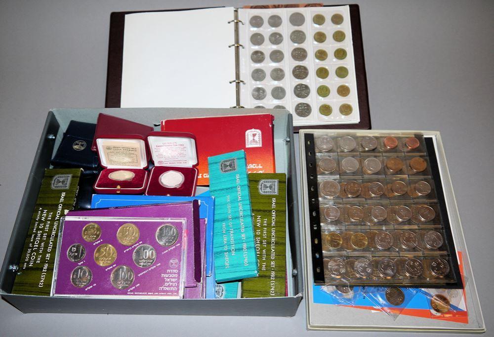 Große Sammlung Münzen Israel: Kursmünzensätze, Silber-Gedenkmünzen usw., 1970er/80er Jahre