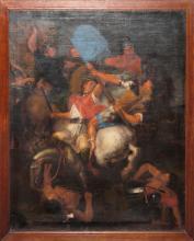 Vincent Adriaenssen, in der Art des, Antikisierende Reiterschlacht, Ölgemälde, gerahmt
