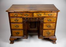 George I Style Walnut Architectural-Formed Kneehole Desk, 19th C.