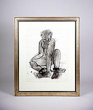 ONNI SARRI, Ink on Paper of a Man in Chains matted and in a White Gold Leaf Frame