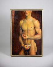 Oi on Canvas of a Young Male Nude with Paint Brush in a White Gold Leaf Frame