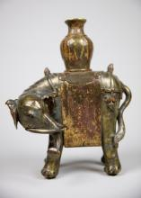 Chinese Bronze Elephant with traces of Gilt & Polychrome Lacquer
