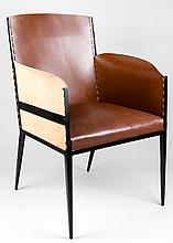 Pair Giacometti / Jean Michel Frank Style Leather and Wrought Iron Arm Chairs