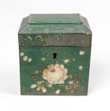 19th French Painted Decorated Tole Tea Box