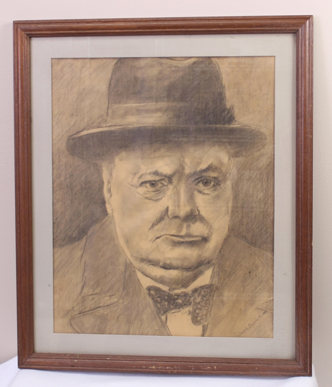 PORTRAIT OF WINSTON CHURCHILL BY SARAH CHURCHILL