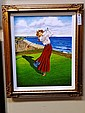 Vintage Women Golfer Giclee on Canvas.