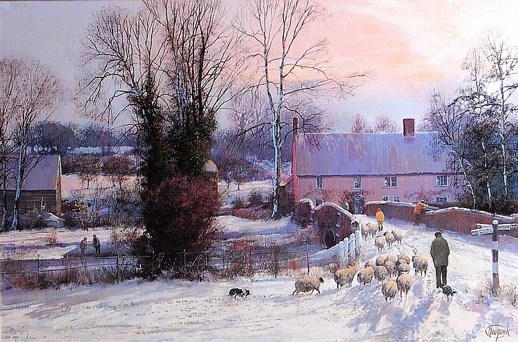 Clive Madgwick (1934-2005)-Driving sheep in