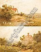 ZZZZZZZZZZZZ Roberto Angelo Kittermaster Marshall 1849-1902 - Pair, rural landscape scenes, each depicting a cottage, figures, ducks and chickens, watercolour, each signed, 22cm x 35cm (Illus.), Roland Arthur Kittermaster Marshall, Click for value
