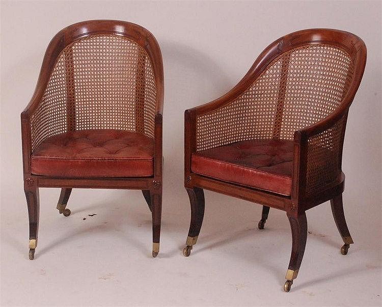 A fine pair of Regency mahogany Bergere library
