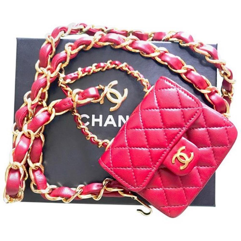 3e6397b27e4b Vintage CHANEL red lambskin mini 2.55 bag charm chain leather belt with  golden CC