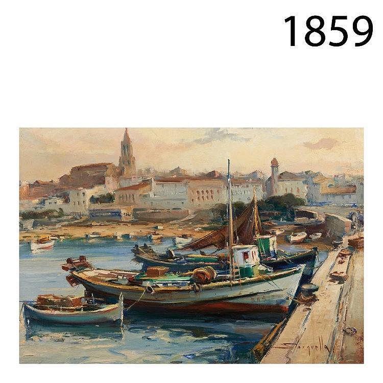 Coastal village. Oil on canvas.