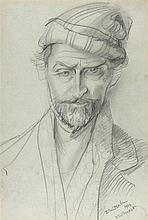 * Sven BERLIN (1911-1999), Pencil drawing, Self Portrait, Inscribed 'New Fo