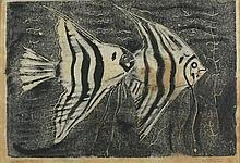 * Sven BERLIN (1911-1999), Etching / dry point, 'Angel Fish', Inscribed, si