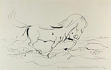 * Sven BERLIN (1911-1999), Black ink drawing, Horse galloping in the surf,