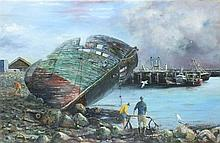 David LANGSWORTHY (b.1942), Oil on canvas, Decommissioned Trawler Newlyn Ha