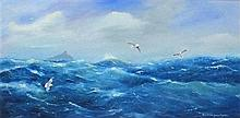 David LANGSWORTHY (b.1942), Oil on canvas, Gale warning over Mount's Bay, S