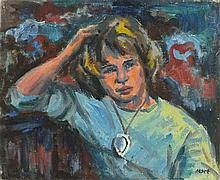 * Marjorie MORT (1906-1989), Oil on canvas board, Portrait of Margaret as a