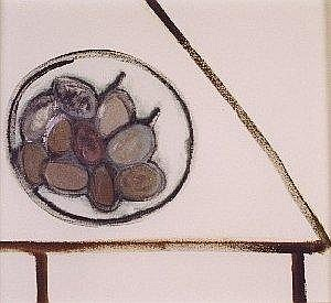 Jessica COOPER (b 1967) Acrylic & pencil on canvas 'End of the Year Victoria Plums' Inscribed & signed to verso Framed & glazed 16in x 17in
