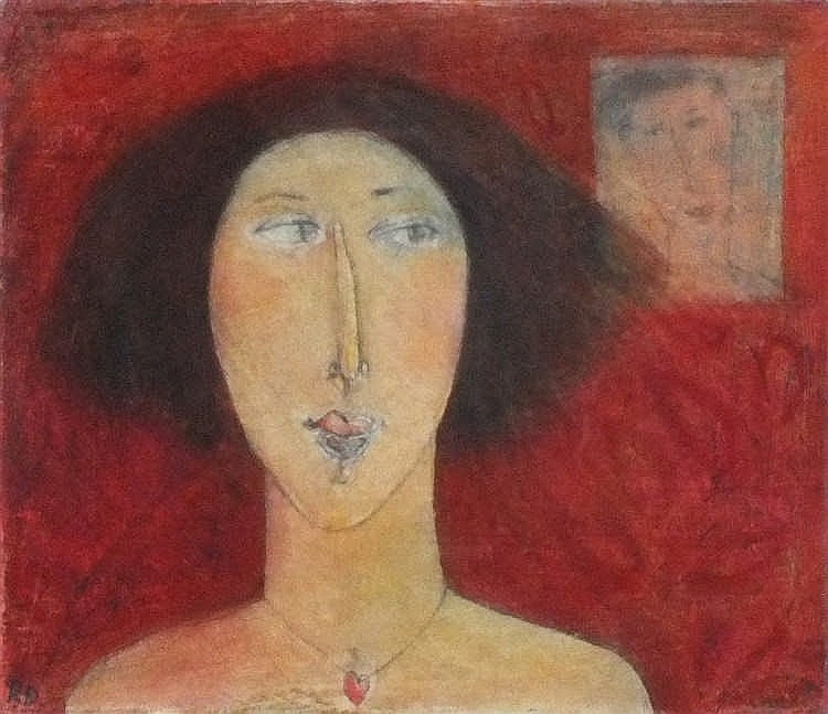 * Rose DAVIS (b.1949), Mixed media on board, 'Always There' - head & should