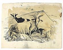 * Sven BERLIN (1911-1999), Pen & ink sketch, An Acrobatic nude Dancer, Sign