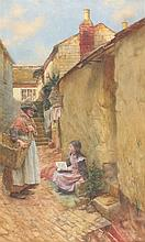 Walter LANGLEY (1852-1922), Watercolour, The Eager Scholar - young girl & a