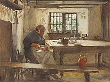 Walter LANGLEY (1852-1922), Watercolour, Afternoon tea, woman buttering bre