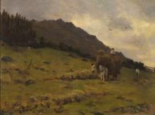 Thomas Cooper GOTCH (1854-1931), Oil on board, 'Haymaking, West Cornwall',