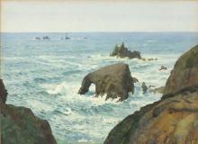 Thomas Cooper GOTCH (1854-1931), Watercolour, Longships Lighthouse & Enys D
