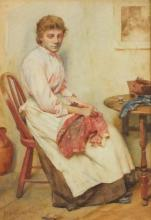 Walter LANGLEY (1852-1922), Watercolour, Portrait of a young woman sewing i