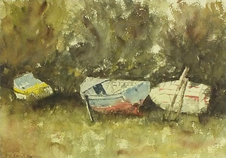 * Gordon COUCH (b.1944), Watercolour, Three boats on a grassy bank Mevagiss