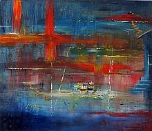 * David LANGSWORTHY (b.1942), Oil on board, Abstract Cornish Seascape, Sign