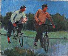 * Marjorie MORT (1906-1989), Three oil on canvas board, 'The Cyclist', Insc