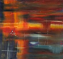 * David LANGSWORTHY (b.1942), Oil on board, Abstract 'Fading Light Cornwall