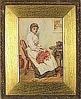 Walter LANGLEY (1852-1922), Watercolour, Portrait of a young woman sewing in a cottage interior, Signed, 13.25