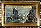 Rev. Frederick C. JACKSON (1825-1898), Watercolour, Fishing fleet off 'The Bumble Rock' Housel Bay, The Lizard Cornwall, Inscribed on label to verso, Signed, 10.5