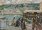 Harold C. HARVEY (1874-1941), Oil on canvas, The Fish Market, Newlyn Harbour, Signed & dated 1939, 11.5