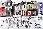 * Fred YATES (1922-2008), Oil on canvas, Lively Street - winter street scene, Signed, Unframed, 35