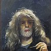 * Robert O. LENKIEWICZ (1941-2002), Oil on board, 'Self-Portrait - Non Project Piece', Head & shoulder portrait of the artist holding a paintbrush, Signed & inscribed to verso, Unsigned, 7.75