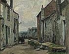 * John Anthony PARK (1880-1962), Oil on canvas, Horse & Cart - street scene St Ives, Signed, 15.5