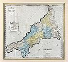 William TUNNICLIFF, 18th Century engraved Map with hand colouring, 'A New Map of Cornwall' from 'A Topographical Survey of the Counties…' by William Tunnicliff, Published 1791, Unframed, 20.25