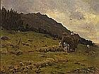 Thomas Cooper GOTCH (1854-1931), Oil on board, 'Haymaking, West Cornwall', Signed, 10.25