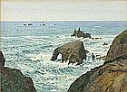 Thomas Cooper GOTCH (1854-1931), Watercolour, Longships Lighthouse & Enys Dodnam Arch, Land's End, Signed, 10.5