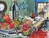 Roy DAVEY (b.1946), Acrylic on canvas board, 'A Full Table' - still life, Signed ROY, 10.5