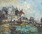* Yram ALLETS (b.1915), (aka Mary Stella Edwards), Oil on board, High Tide Smeatons Pier St Ives, Indistinctly signed, 15.5
