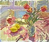 Pat ALGAR (1939-2013), Oil on canvas laid on board, Tulips & Lemons still life, Sketch to verso, Signed, Unframed, 10