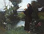 Albert Chevallier TAYLER (1862-1925), Oil on canvas, St Francis of Assisi preaching to the birds, Signed & dated (18)98, In carved & gilded wooden frame, 45