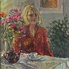 Pat ALGAR (1939-2013), Oil on board, 'Self Portrait' of the artist taking tea, Inscribed & signed to verso, Signed, 7.25