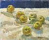 Pat ALGAR (1939-2013), Oil on board, Still life - 'Apples', Inscribed & signed to verso, Signed, Unframed, 10