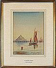 Mc. K. FARQUHARSON (19th / 20th Century), Watercolour, 'St Michael's Mount' - boats in the bay, Inscribed, Signed, 10.75